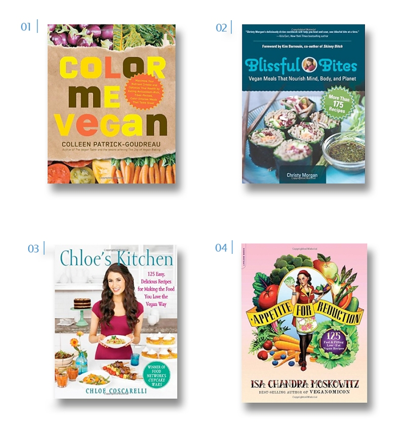 vegan cookbooks called color me vegan, blissful bites, appetite for reduction, chloe's kitchen