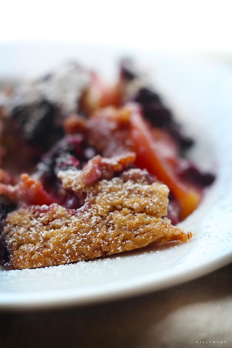 recipe for vegan blueberry peach skillet cobbler