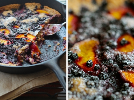 recipe for vegan blueberry peach skillet cobbler