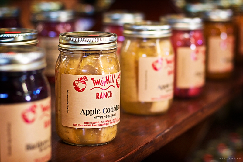 jam jars at twin hill farms, sebastopol, california