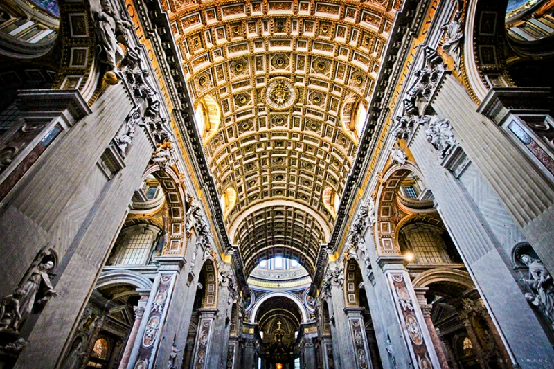 Ceilings of St. Peter's Basilica, Vatican, Italy