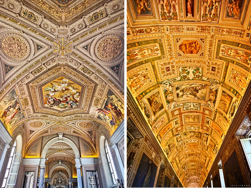 Ceilings at the Vatican Museum, Rome, Italy