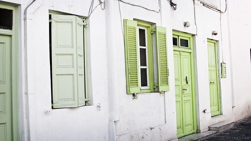 Mykonos Lime Green Doors