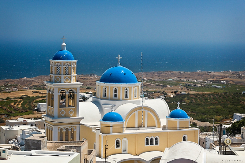 Santorini Blue and White Domes